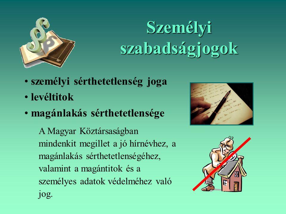 személyi sérthetetlenség joga levéltitok magánlakás sérthetetlensége A Magyar Köztársaságban mindenkit megillet a jó hírnévhez, a magánlakás sérthetet