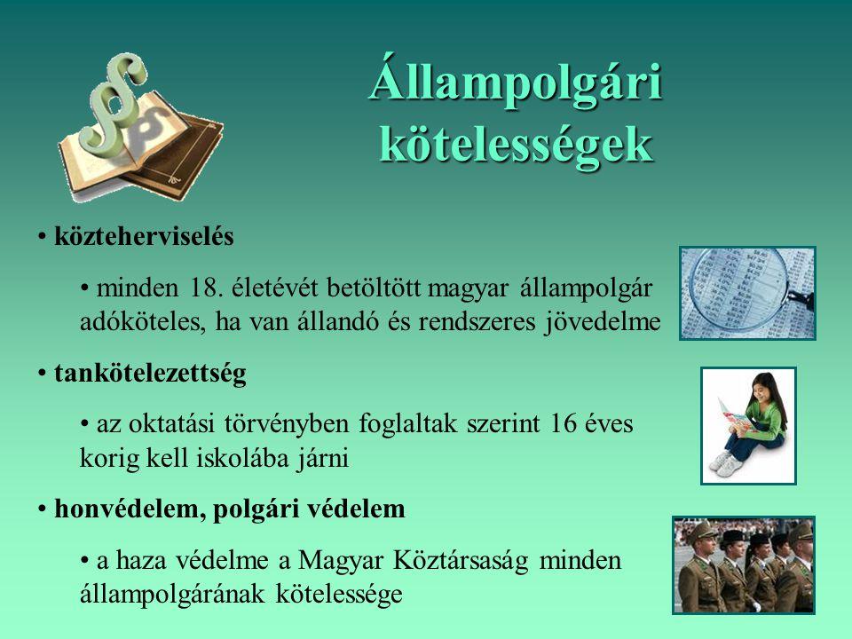 Állampolgári kötelességek közteherviselés minden 18. életévét betöltött magyar állampolgár adóköteles, ha van állandó és rendszeres jövedelme tankötel