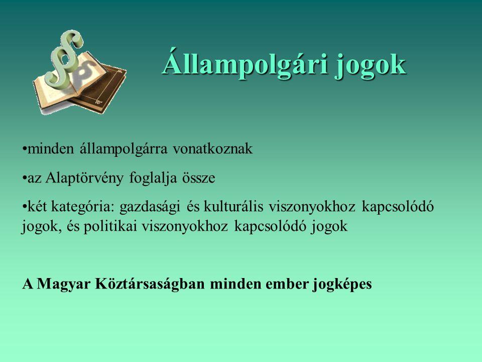 Állampolgári jogok minden állampolgárra vonatkoznak az Alaptörvény foglalja össze két kategória: gazdasági és kulturális viszonyokhoz kapcsolódó jogok