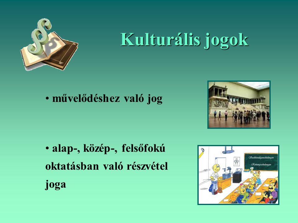 Kulturális jogok művelődéshez való jog alap-, közép-, felsőfokú oktatásban való részvétel joga