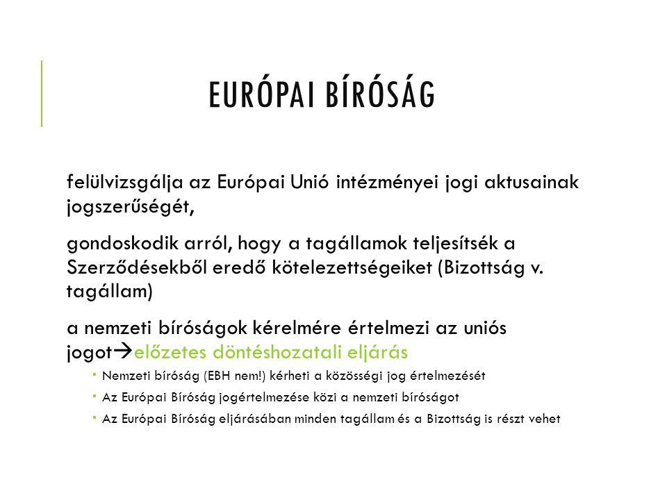EURÓPAI BÍRÓSÁG felülvizsgálja az Európai Unió intézményei jogi aktusainak jogszerűségét, gondoskodik arról, hogy a tagállamok teljesítsék a Szerződés
