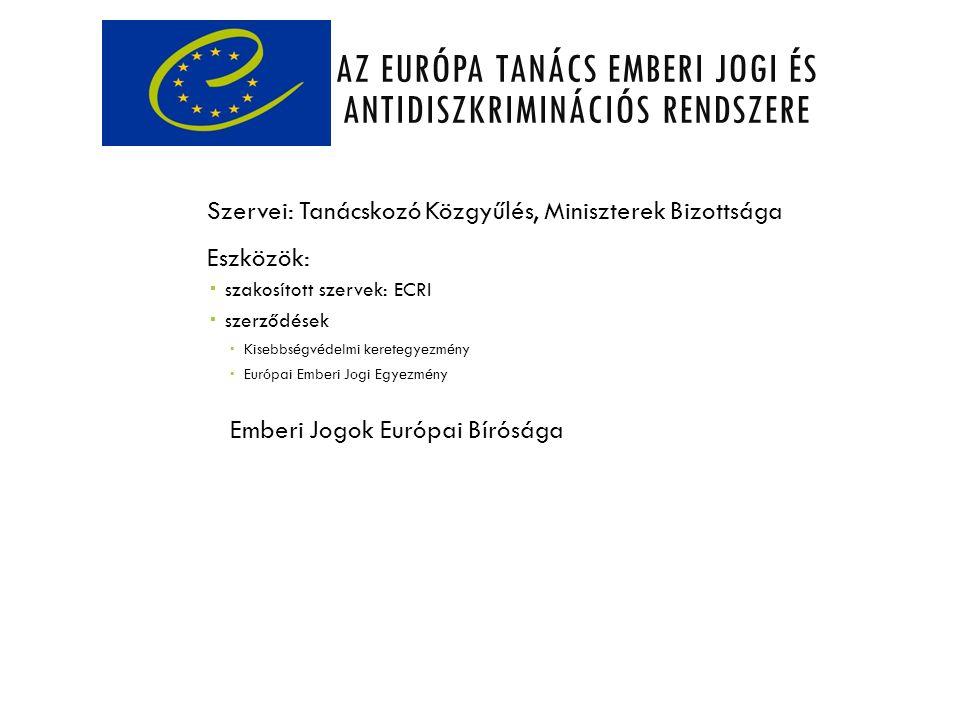 AZ EURÓPA TANÁCS EMBERI JOGI ÉS ANTIDISZKRIMINÁCIÓS RENDSZERE Szervei: Tanácskozó Közgyűlés, Miniszterek Bizottsága Eszközök:  szakosított szervek: E