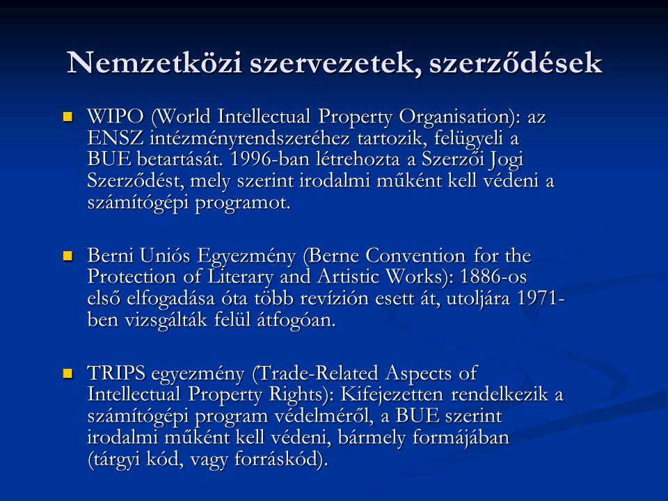 Nemzetközi szervezetek, szerződések WIPO (World Intellectual Property Organisation): az ENSZ intézményrendszeréhez tartozik, felügyeli a BUE betartásá