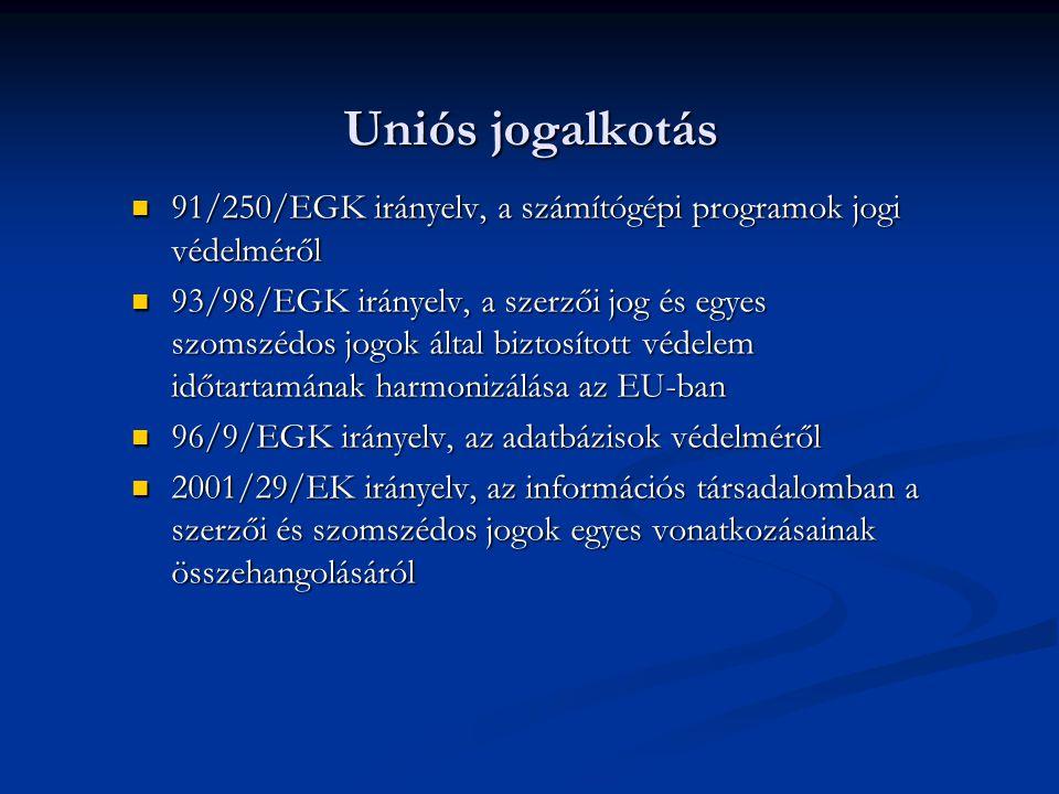 Uniós jogalkotás 91/250/EGK irányelv, a számítógépi programok jogi védelméről 91/250/EGK irányelv, a számítógépi programok jogi védelméről 93/98/EGK irányelv, a szerzői jog és egyes szomszédos jogok által biztosított védelem időtartamának harmonizálása az EU-ban 93/98/EGK irányelv, a szerzői jog és egyes szomszédos jogok által biztosított védelem időtartamának harmonizálása az EU-ban 96/9/EGK irányelv, az adatbázisok védelméről 96/9/EGK irányelv, az adatbázisok védelméről 2001/29/EK irányelv, az információs társadalomban a szerzői és szomszédos jogok egyes vonatkozásainak összehangolásáról 2001/29/EK irányelv, az információs társadalomban a szerzői és szomszédos jogok egyes vonatkozásainak összehangolásáról