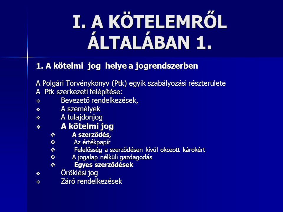I. A KÖTELEMRŐL ÁLTALÁBAN 1. 1. A kötelmi jog helye a jogrendszerben A Polgári Törvénykönyv (Ptk) egyik szabályozási részterülete A Ptk szerkezeti fel