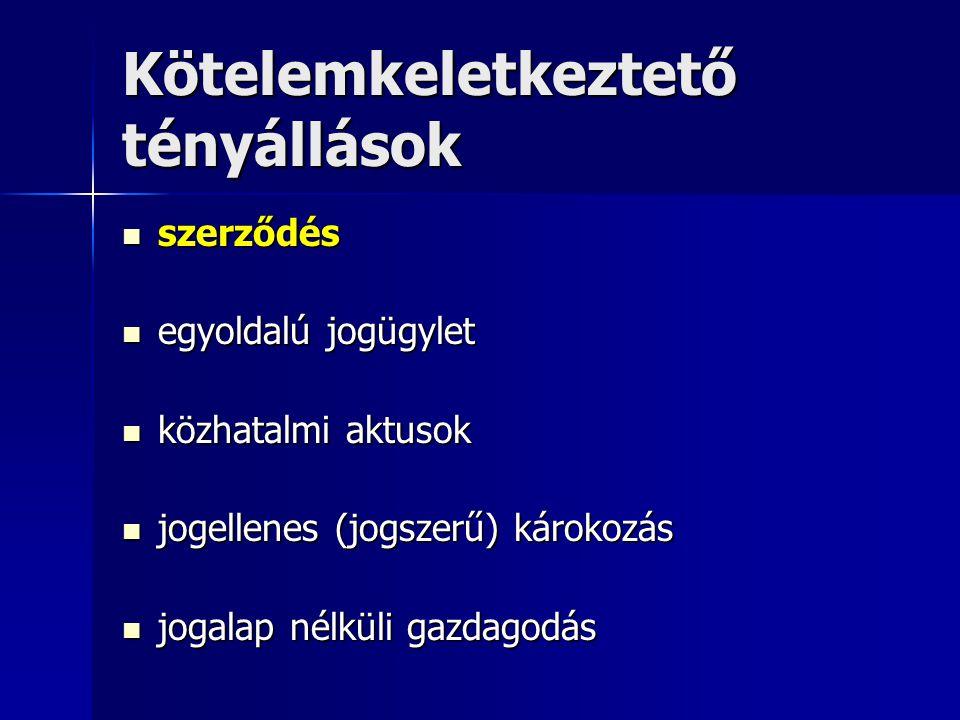2.A SZERZŐDÉSRŐL ÁLTALÁBAN 1. 1.