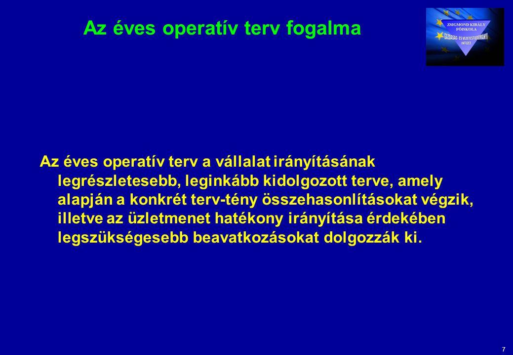 7 Az éves operatív terv fogalma Az éves operatív terv a vállalat irányításának legrészletesebb, leginkább kidolgozott terve, amely alapján a konkrét t