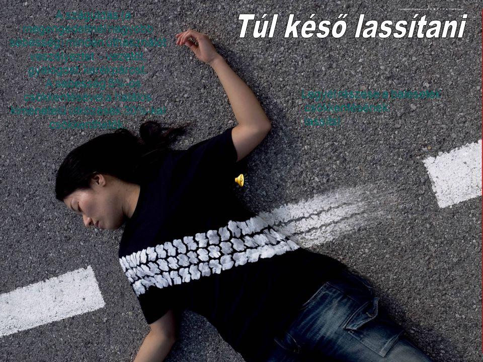 A száguldás (a megengedettnél nagyobb sebesség) minden úthasználót veszélyeztet - vezetőt, gyalogost, kerékpárost.