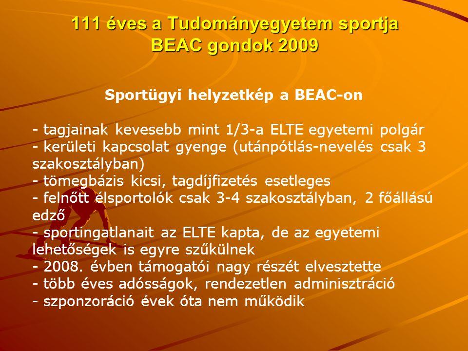 111 éves a Tudományegyetem sportja BEAC gondok 2009 Sportügyi helyzetkép a BEAC-on - tagjainak kevesebb mint 1/3-a ELTE egyetemi polgár - kerületi kap
