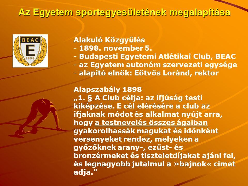 Az Egyetem sportegyesületének megalapítása Alakuló Közgyűlés - 1898. november 5. - Budapesti Egyetemi Atlétikai Club, BEAC - az Egyetem autonóm szerve