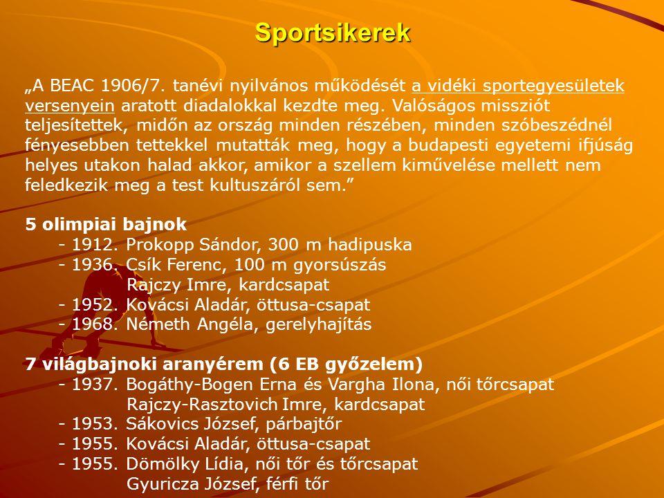 """Sportsikerek """"A BEAC 1906/7. tanévi nyilvános működését a vidéki sportegyesületek versenyein aratott diadalokkal kezdte meg. Valóságos missziót teljes"""