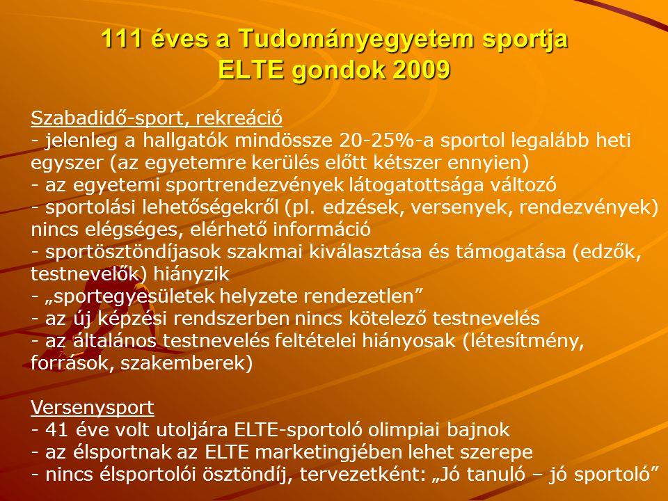 111 éves a Tudományegyetem sportja ELTE gondok 2009 Szabadidő-sport, rekreáció - jelenleg a hallgatók mindössze 20-25%-a sportol legalább heti egyszer