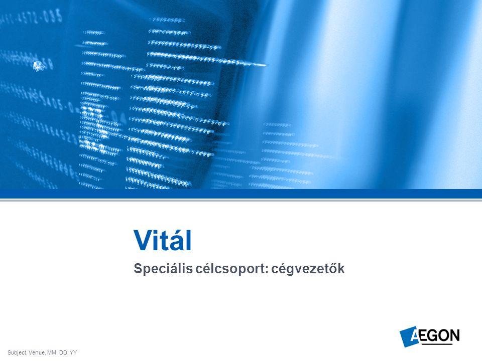 Subject, Venue, MM, DD, YY Vitál Speciális célcsoport: cégvezetők