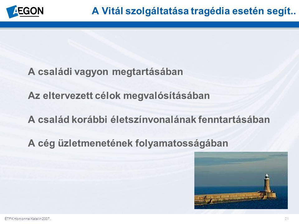 21ÉTFK Homonnai Katalin 2007. A Vitál szolgáltatása tragédia esetén segít..