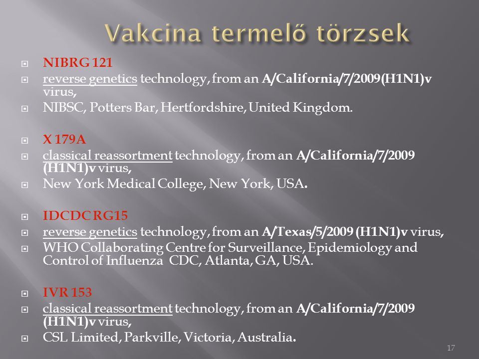 17  NIBRG 121  reverse genetics technology, from an A/California/7/2009(H1N1)v virus,  NIBSC, Potters Bar, Hertfordshire, United Kingdom.  X 179A