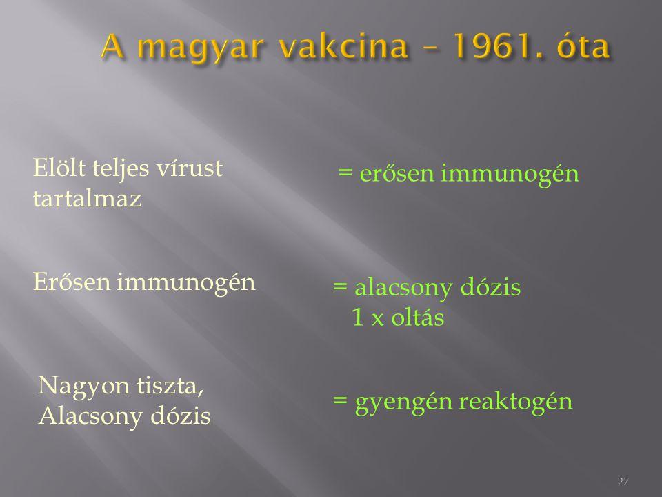 27 Elölt teljes vírust tartalmaz = erősen immunogén Nagyon tiszta, Alacsony dózis = gyengén reaktogén Erősen immunogén = alacsony dózis 1 x oltás