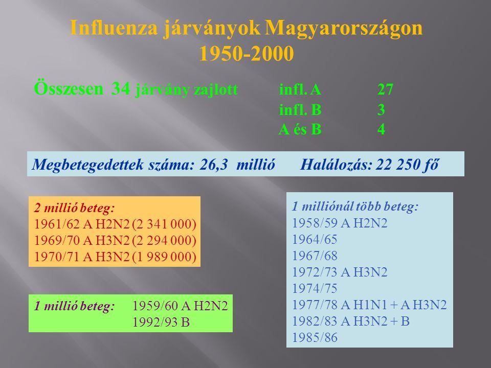 Összesen 34 járvány zajlottinfl. A27 infl. B3 A és B4 Influenza járványok Magyarországon 1950-2000 Megbetegedettek száma: 26,3 millió Halálozás:22 250
