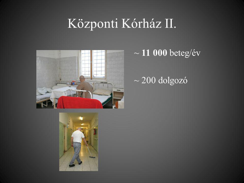 Központi Kórház II. ~ 11 000 beteg/év ~ 200 dolgozó