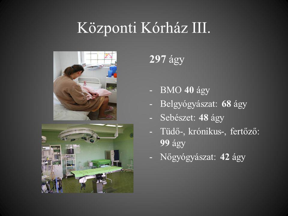 Központi Kórház III. 297 ágy -BMO 40 ágy -Belgyógyászat: 68 ágy -Sebészet: 48 ágy -Tüdő-, krónikus-, fertőző: 99 ágy -Nőgyógyászat: 42 ágy
