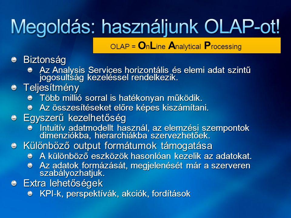 Biztonság Az Analysis Services horizontális és elemi adat szintű jogosultság kezeléssel rendelkezik. Teljesítmény Több millió sorral is hatékonyan műk