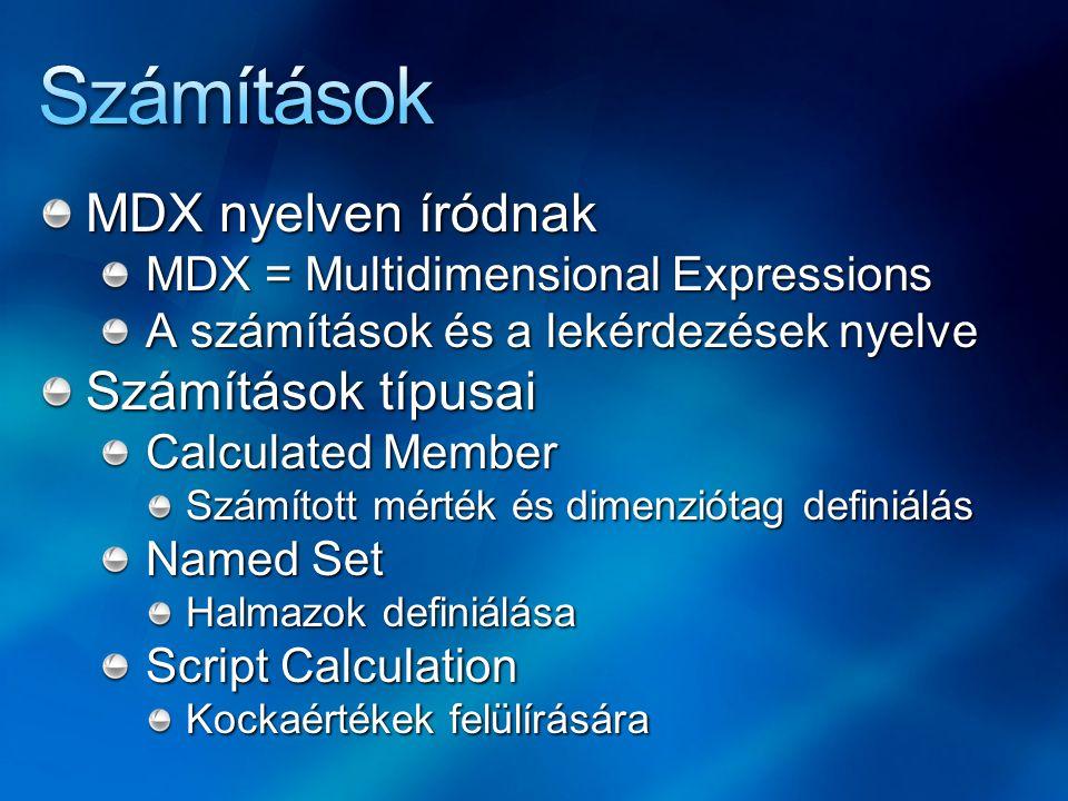 MDX nyelven íródnak MDX = Multidimensional Expressions A számítások és a lekérdezések nyelve Számítások típusai Calculated Member Számított mérték és
