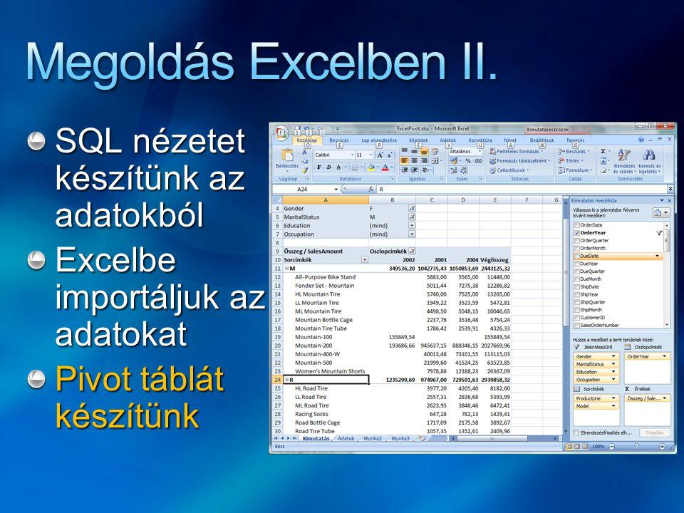 SQL nézetet készítünk az adatokból Excelbe importáljuk az adatokat Pivot táblát készítünk