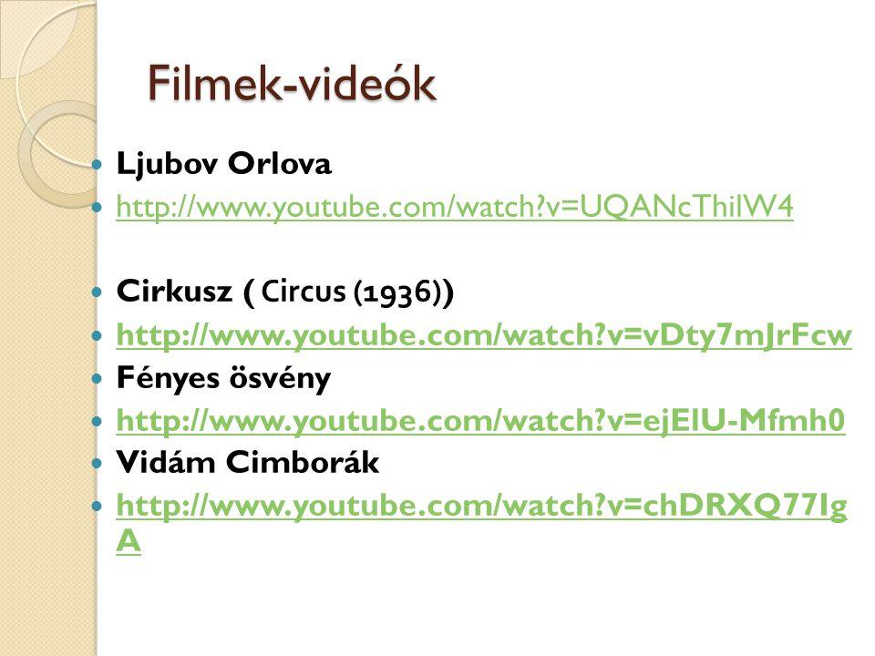 Filmek-videók Ljubov Orlova http://www.youtube.com/watch v=UQANcThilW4 Cirkusz ( Circus (1936)) http://www.youtube.com/watch v=vDty7mJrFcw Fényes ösvény http://www.youtube.com/watch v=ejElU-Mfmh0 Vidám Cimborák http://www.youtube.com/watch v=chDRXQ77Ig A http://www.youtube.com/watch v=chDRXQ77Ig A