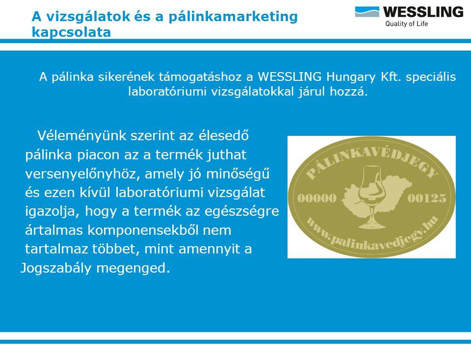 A vizsgálatok és a pálinkamarketing kapcsolata A pálinka sikerének támogatáshoz a WESSLING Hungary Kft.