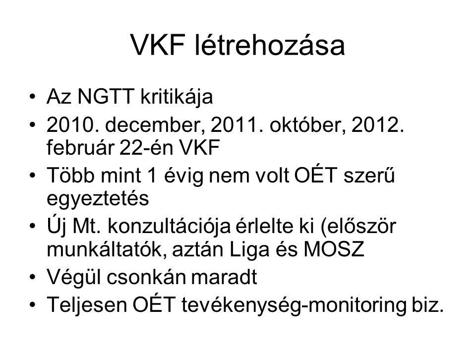 VKF létrehozása Az NGTT kritikája 2010. december, 2011. október, 2012. február 22-én VKF Több mint 1 évig nem volt OÉT szerű egyeztetés Új Mt. konzult