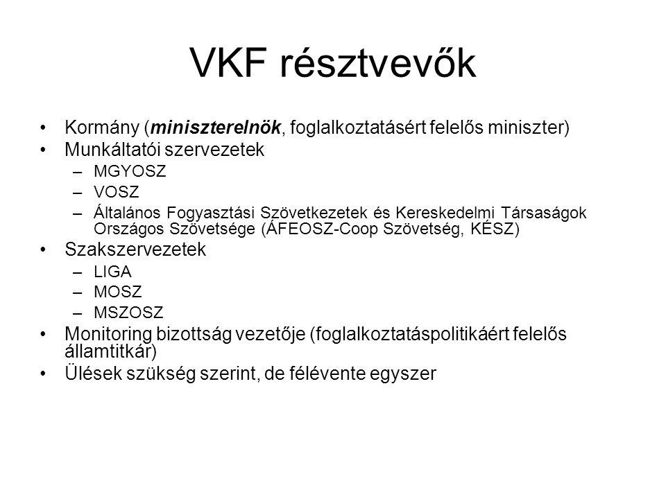 VKF résztvevők Kormány (miniszterelnök, foglalkoztatásért felelős miniszter) Munkáltatói szervezetek –MGYOSZ –VOSZ –Általános Fogyasztási Szövetkezete