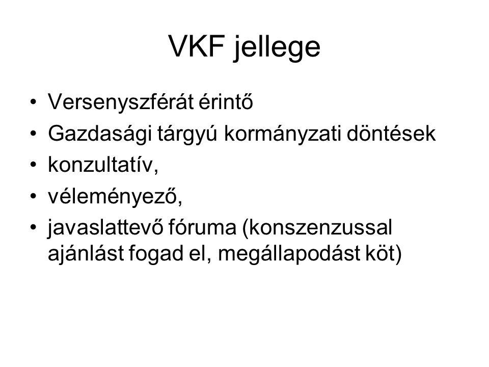 VKF jellege Versenyszférát érintő Gazdasági tárgyú kormányzati döntések konzultatív, véleményező, javaslattevő fóruma (konszenzussal ajánlást fogad el