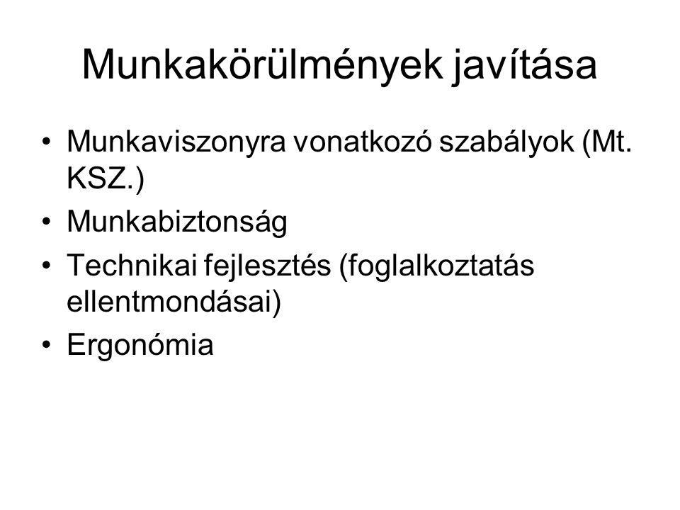 Munkakörülmények javítása Munkaviszonyra vonatkozó szabályok (Mt. KSZ.) Munkabiztonság Technikai fejlesztés (foglalkoztatás ellentmondásai) Ergonómia