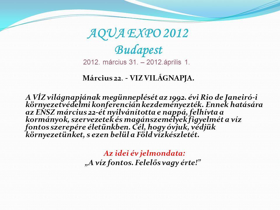 Március 22. - VIZ VILÁGNAPJA. A VÍZ világnapjának megünneplését az 1992. évi Rio de Janeiró-i környezetvédelmi konferencián kezdeményezték. Ennek hatá
