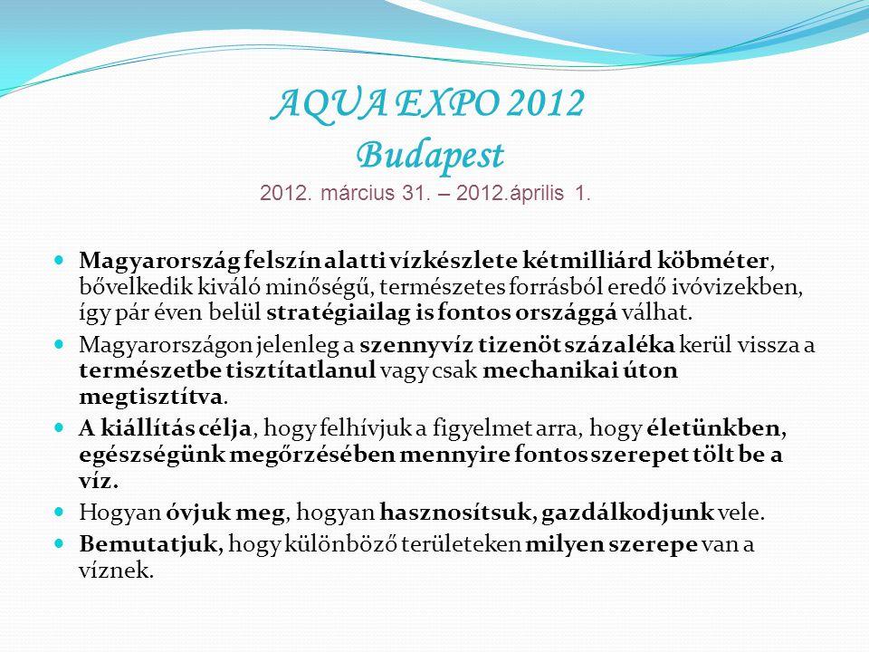 AQUA EXPO 2012 célcsoportja: 5 évestől a 80 évesig, mindenki, aki ivóvizet fogyaszt aki a vízzel foglalkozik, akinek fontos a víz élettani hatása, a környezetvédelem, és aki a szabadidejét egészségesen kívánja eltölteni.