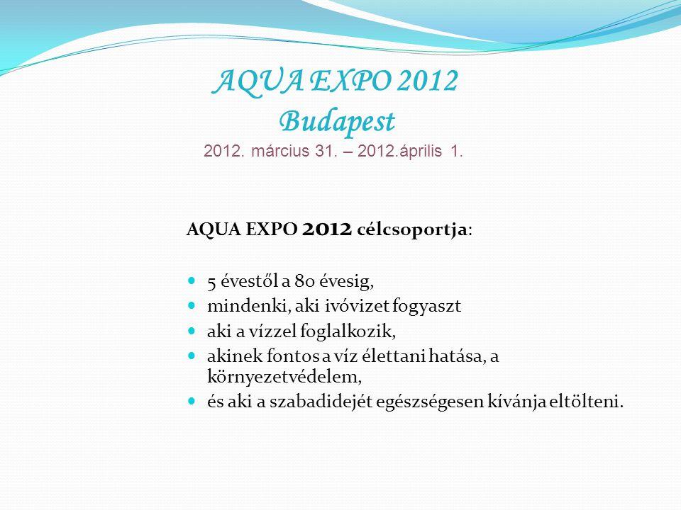 AQUA EXPO 2012 kiállítás és vásár: Konferencia 2 teremben ( 340 m 2 ) Kiállítás és vásár ( 2 500 m 2 ) Színpadi programok ( 150 m 2) Egészség sarok ( 200 m 2 ) Wellness sarok ( 200 m 2 ) Játszóház ( 200 m 2 ) AQUA EXPO 2012 Budapest 2012.