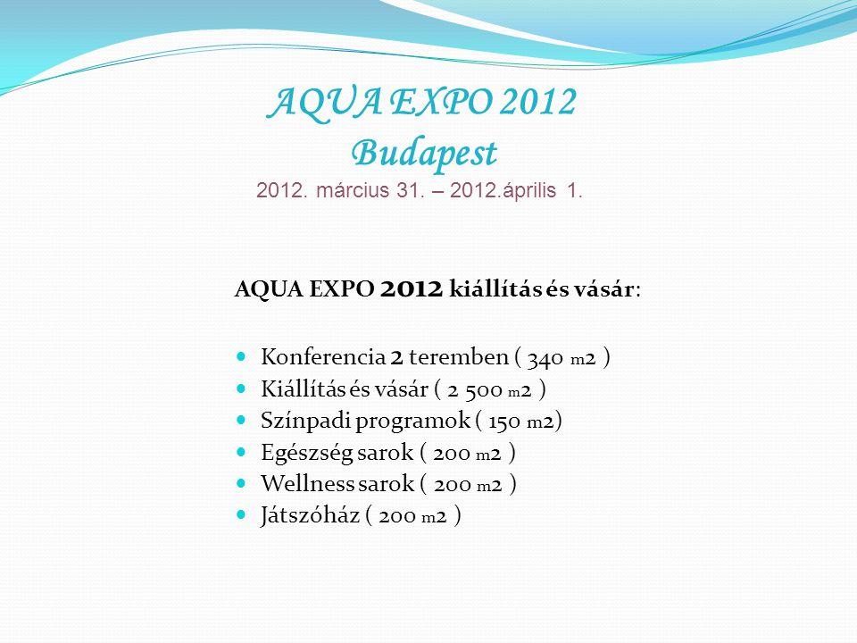 AQUA EXPO 2012 kiállítás és vásár: Konferencia 2 teremben ( 340 m 2 ) Kiállítás és vásár ( 2 500 m 2 ) Színpadi programok ( 150 m 2) Egészség sarok (