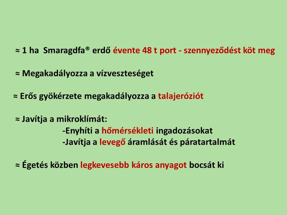 ≈ 1 ha Smaragdfa® erdő évente 48 t port - szennyeződést köt meg ≈ Megakadályozza a vízveszteséget ≈ Erős gyökérzete megakadályozza a talajeróziót ≈ Ja