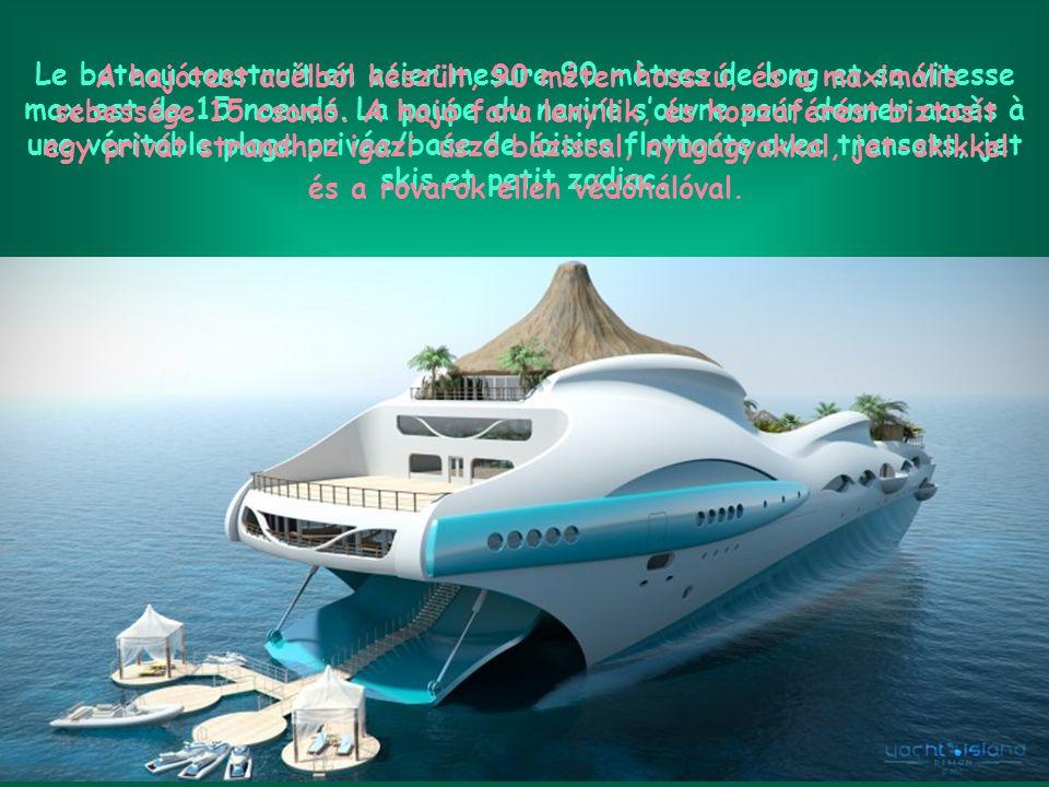 Yacht Island Design propose, à travers cette étude de style, de récréer à bord d'un navire privé, l'environnement d'une île tropicale paradisiaque avec son volcan et sa cascade se déversant dans le lagon faisant office de piscine.