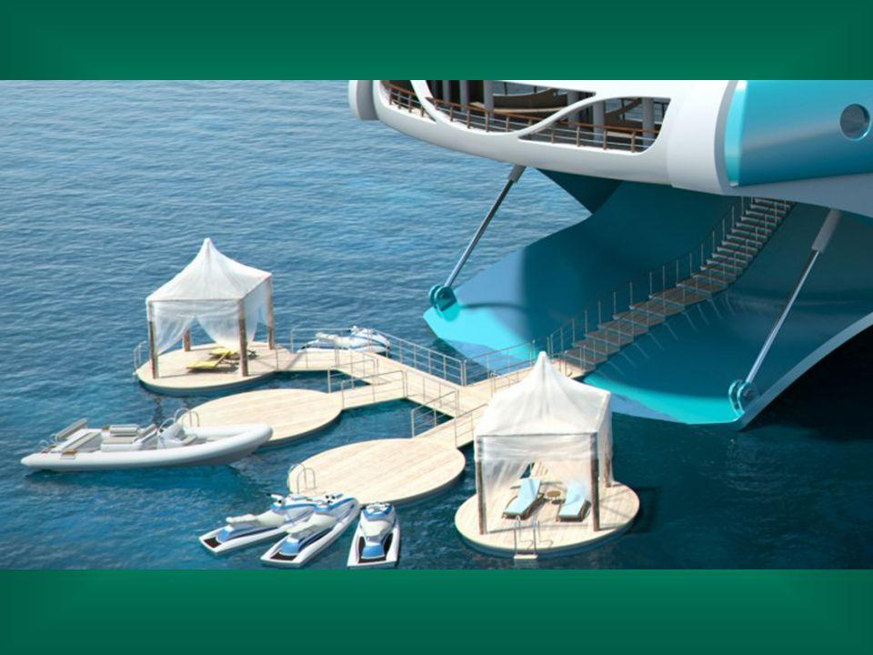 Le pont arrière accueille une piste d'atterrissage pour hélicoptères permettant aux invités VIP de venir passer quelques jours sur le bateau.