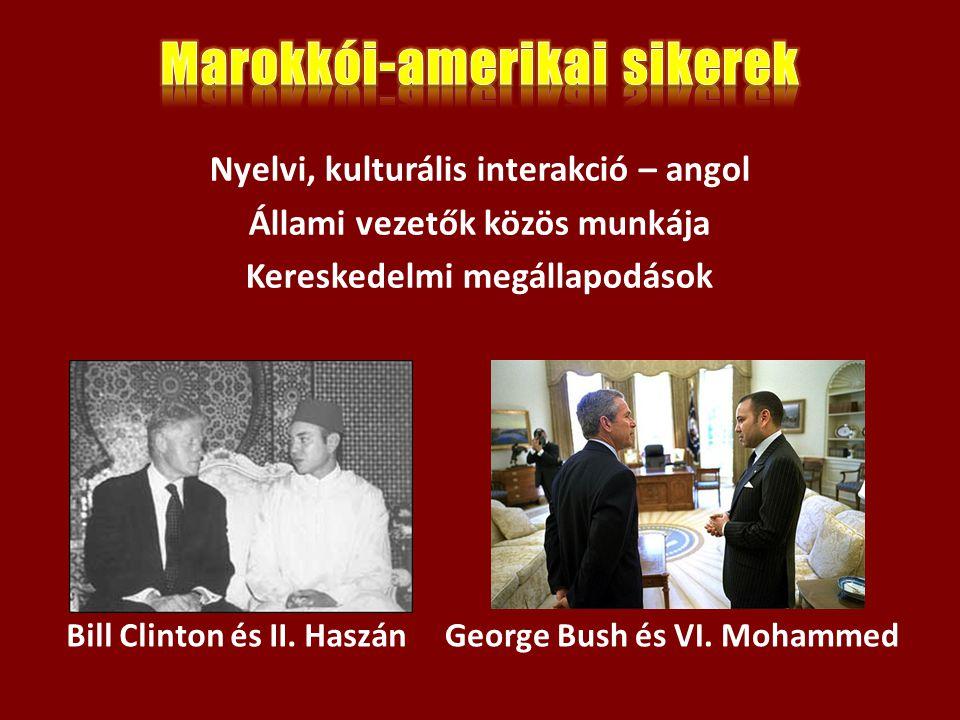 Bill Clinton és II. HaszánGeorge Bush és VI. Mohammed Nyelvi, kulturális interakció – angol Állami vezetők közös munkája Kereskedelmi megállapodások