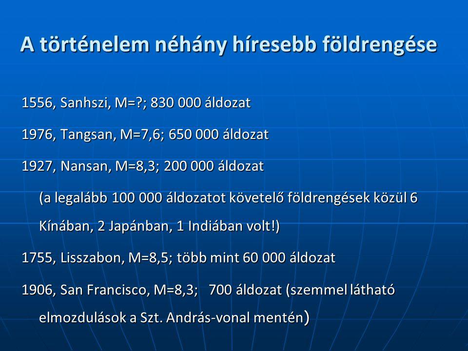 A történelem néhány híresebb földrengése 1556, Sanhszi, M=?; 830 000 áldozat 1976, Tangsan, M=7,6; 650 000 áldozat 1927, Nansan, M=8,3; 200 000 áldozat (a legalább 100 000 áldozatot követelő földrengések közül 6 Kínában, 2 Japánban, 1 Indiában volt!) 1755, Lisszabon, M=8,5; több mint 60 000 áldozat 1906, San Francisco, M=8,3; 700 áldozat (szemmel látható elmozdulások a Szt.