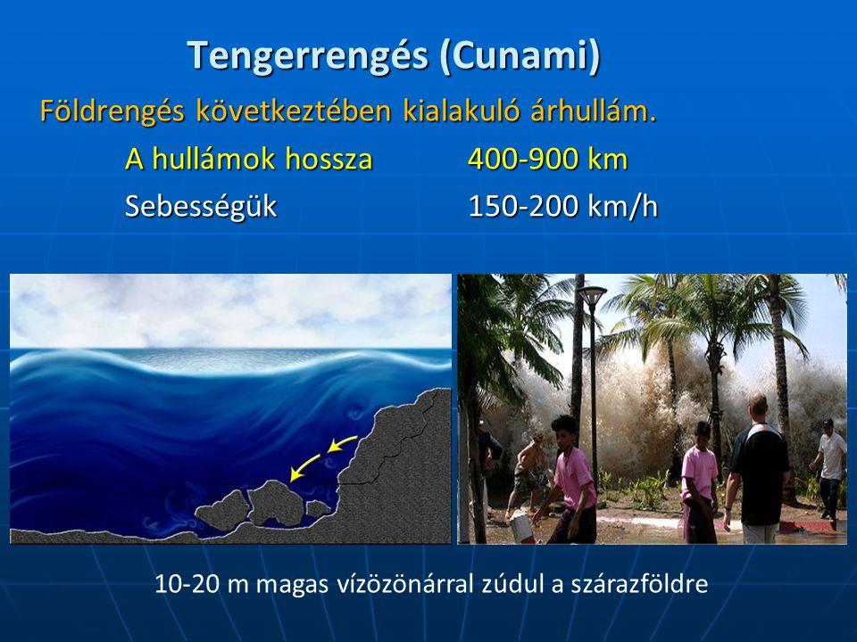 Tengerrengés (Cunami) Földrengés következtében kialakuló árhullám. A hullámok hossza 400-900 km Sebességük 150-200 km/h 10-20 m magas vízözönárral zúd