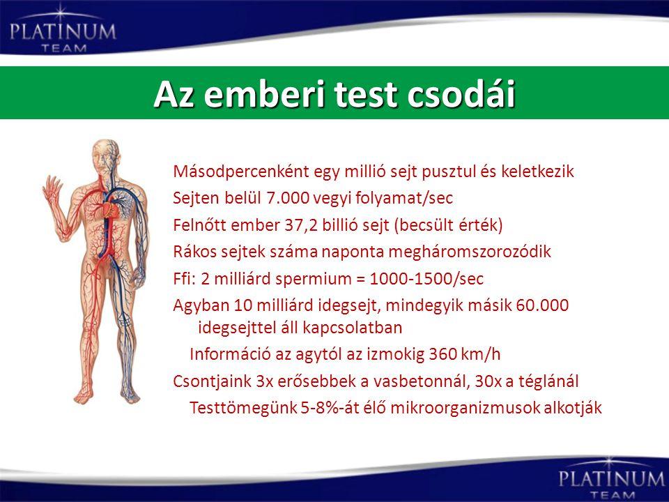 Az emberi test csodái Másodpercenként egy millió sejt pusztul és keletkezik Sejten belül 7.000 vegyi folyamat/sec Felnőtt ember 37,2 billió sejt (becs