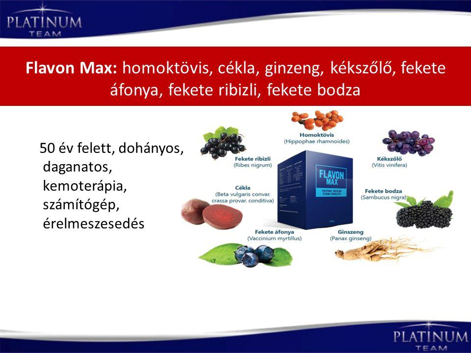 Flavon Max: homoktövis, cékla, ginzeng, kékszőlő, fekete áfonya, fekete ribizli, fekete bodza 50 év felett, dohányos, daganatos, kemoterápia, számítóg
