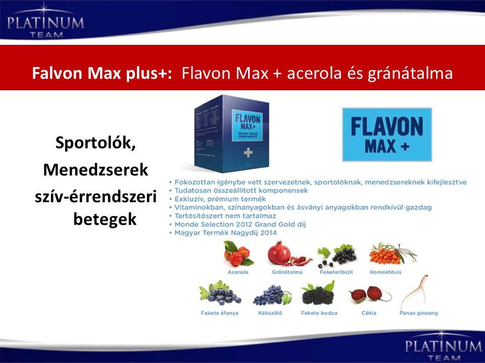 Falvon Max plus+: Flavon Max + acerola és gránátalma Sportolók, Menedzserek szív-érrendszeri betegek
