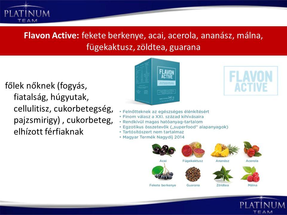 Flavon Active: fekete berkenye, acai, acerola, ananász, málna, fügekaktusz, zöldtea, guarana főlek nőknek (fogyás, fiatalság, húgyutak, cellulitisz, c