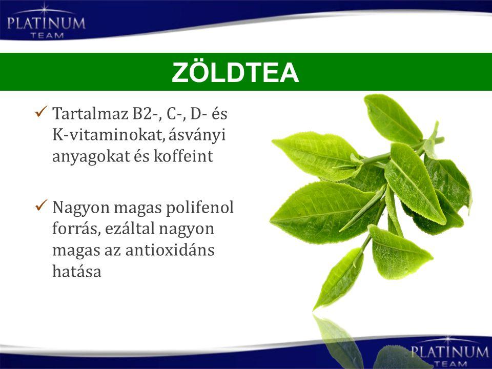 Tartalmaz B2-, C-, D- és K-vitaminokat, ásványi anyagokat és koffeint Nagyon magas polifenol forrás, ezáltal nagyon magas az antioxidáns hatása ZÖLDTE