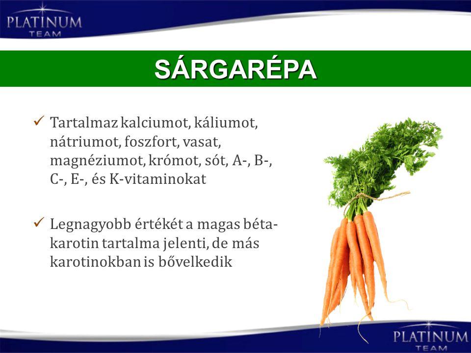 Tartalmaz kalciumot, káliumot, nátriumot, foszfort, vasat, magnéziumot, krómot, sót, A-, B-, C-, E-, és K-vitaminokat Legnagyobb értékét a magas béta-