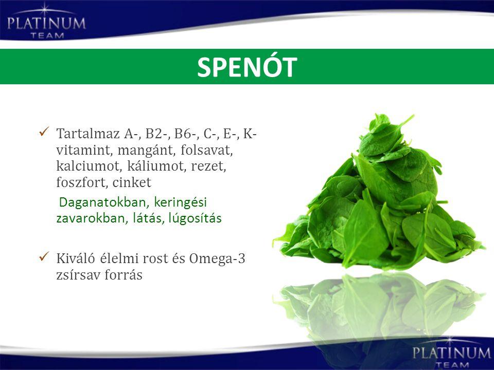 Tartalmaz A-, B2-, B6-, C-, E-, K- vitamint, mangánt, folsavat, kalciumot, káliumot, rezet, foszfort, cinket Daganatokban, keringési zavarokban, látás