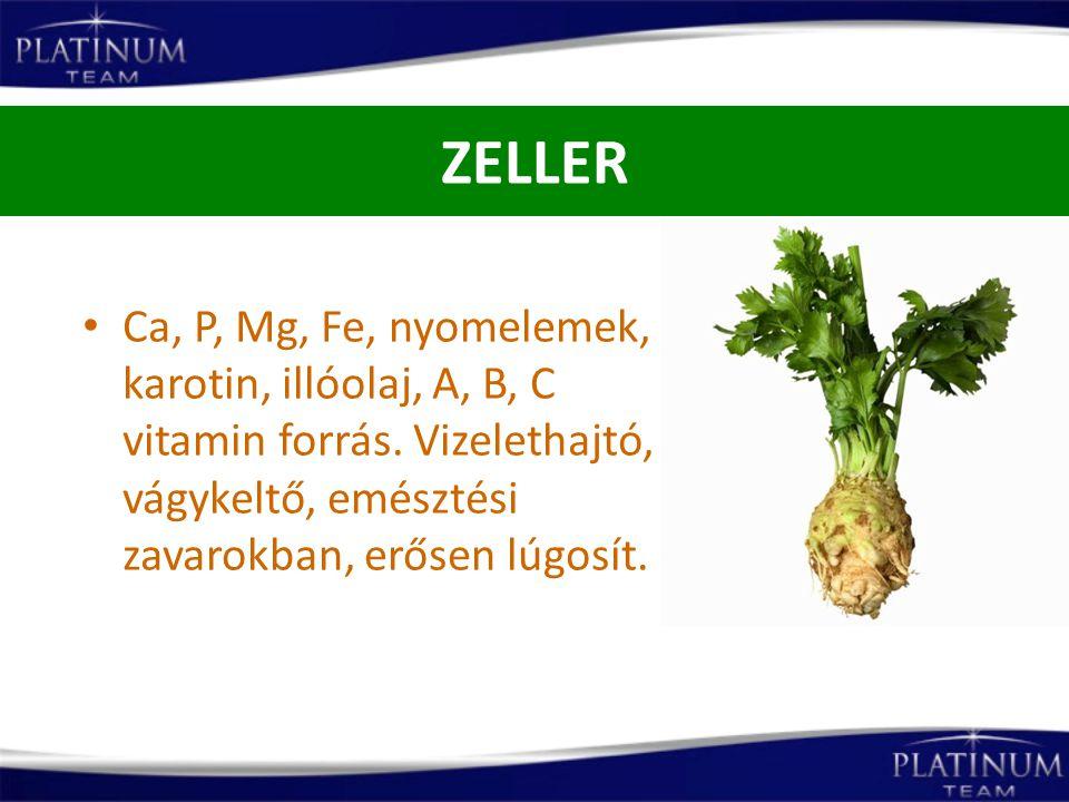 ZELLER Ca, P, Mg, Fe, nyomelemek, karotin, illóolaj, A, B, C vitamin forrás. Vizelethajtó, vágykeltő, emésztési zavarokban, erősen lúgosít.